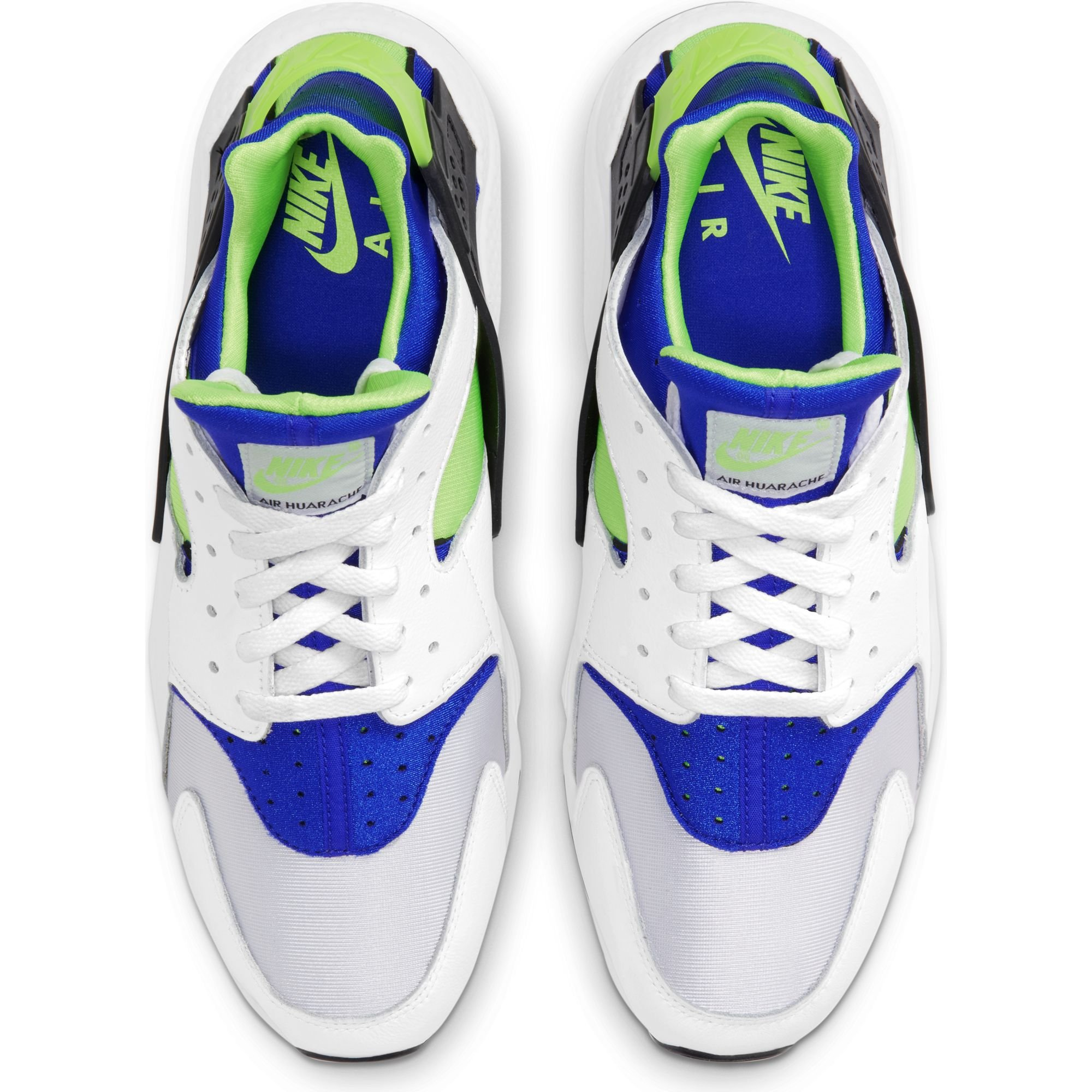 nike air huarache white scream green royal blue
